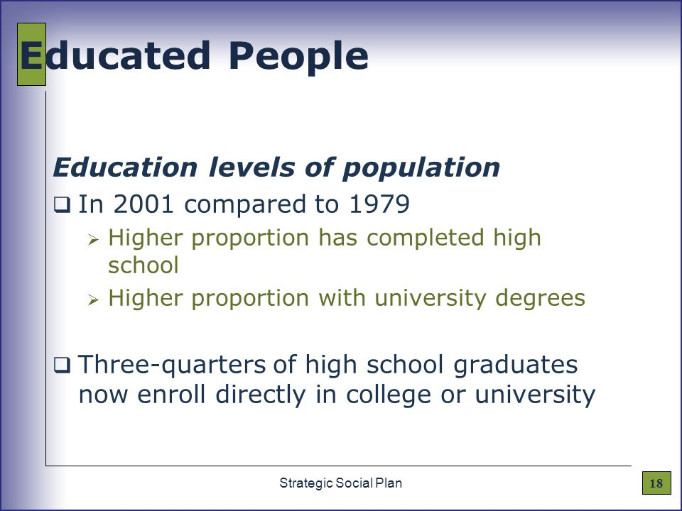 18Strategic Social Plan Educated People Education levels of population  In 2001 compared to 1979  Higher proportion has completed high school  Higher proportion with university degrees  Three-quarters of high school graduates now enroll directly in college or university