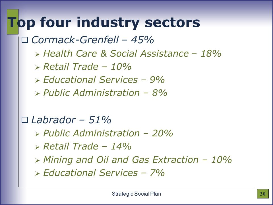 30Strategic Social Plan Top four industry sectors  Cormack-Grenfell – 45%  Health Care & Social Assistance – 18%  Retail Trade – 10%  Educational Services – 9%  Public Administration – 8%  Labrador – 51%  Public Administration – 20%  Retail Trade – 14%  Mining and Oil and Gas Extraction – 10%  Educational Services – 7%