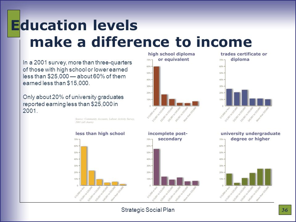 36Strategic Social Plan Education levels make a difference to income In a 2001 survey, more than three-quarters of those with high school or lower earned less than $25,000 — about 60% of them earned less than $15,000.
