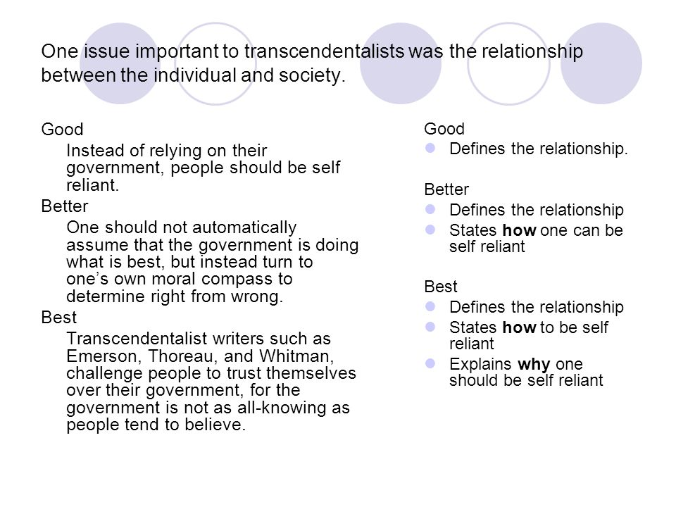 One issue important to transcendentalists was the relationship between the individual and society. Good Instead of relying on their government, people