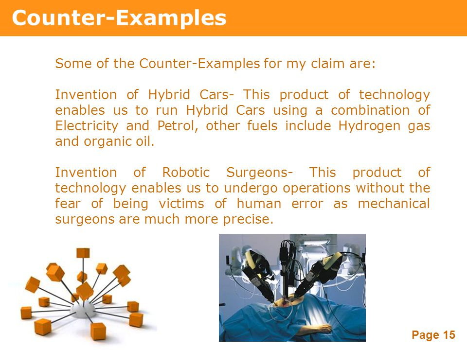 Powerpoint Templates Page 15 Counter-Examples Some of the Counter-Examples for my claim are: Invention of Hybrid Cars- This product of technology enab