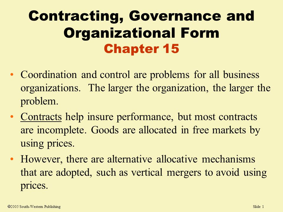 Slide 1  2005 South-Western Publishing Coordination and control are problems for all business organizations.