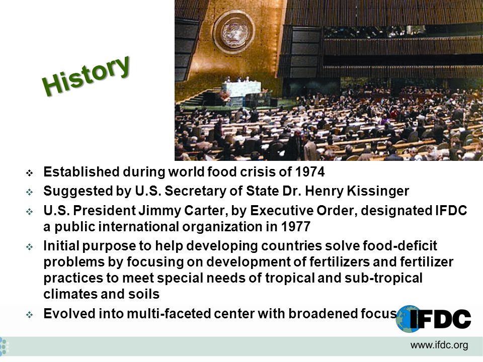 IFDC  Established during world food crisis of 1974  Suggested by U.S.