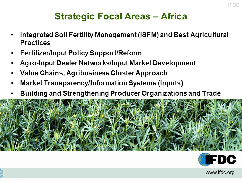 IFDC Integrated Soil Fertility Management (ISFM) and Best Agricultural Practices Fertilizer/Input Policy Support/Reform Agro-Input Dealer Networks/Input Market Development Value Chains, Agribusiness Cluster Approach Market Transparency/Information Systems (Inputs) Building and Strengthening Producer Organizations and Trade Associations Strategic Focal Areas – Africa