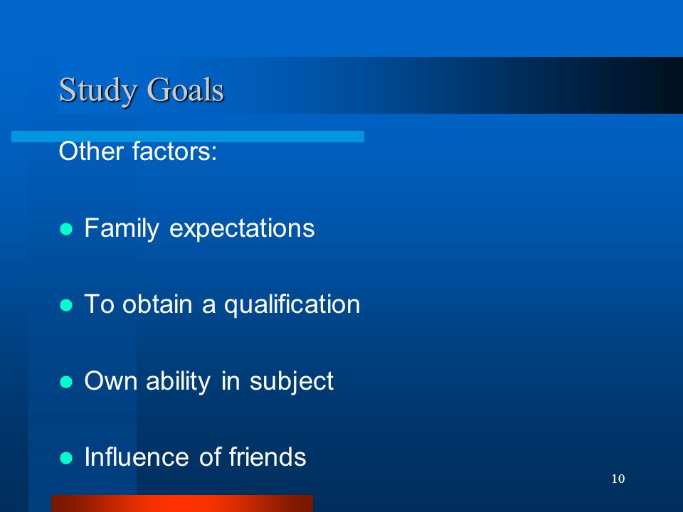 10 Study Goals Other factors: Family expectations To obtain a qualification Own ability in subject Influence of friends