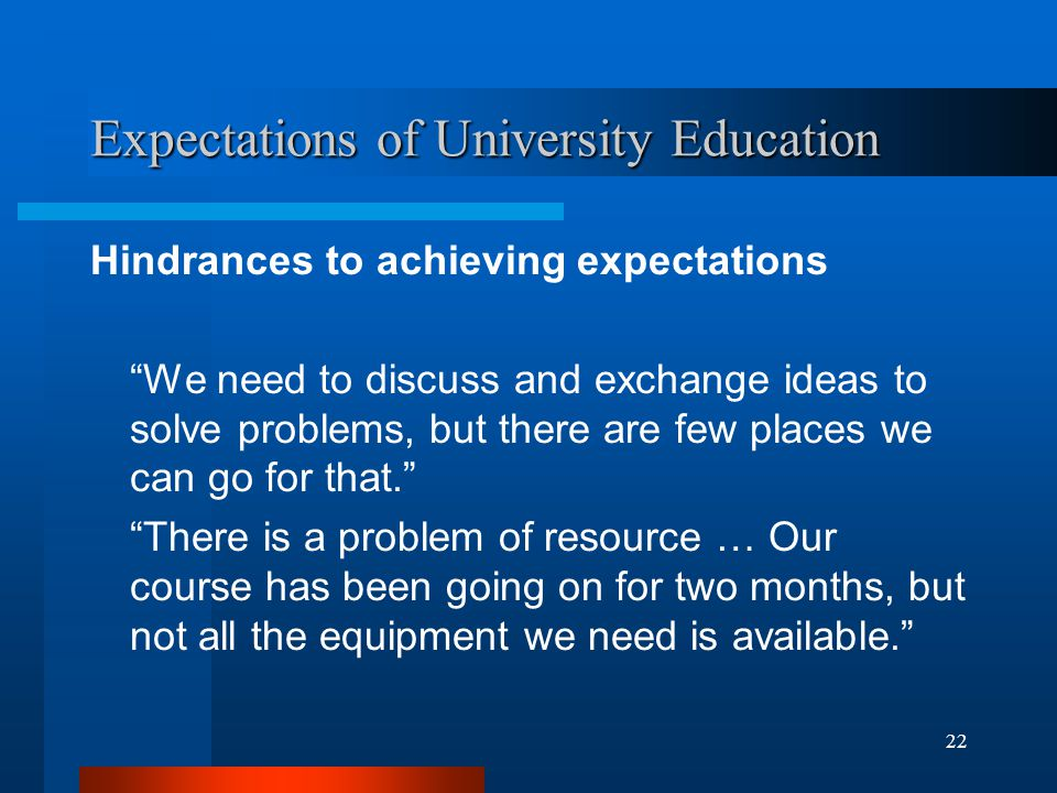 22 Expectations of University Education Hindrances to achieving expectations We need to discuss and exchange ideas to solve problems, but there are few places we can go for that. There is a problem of resource … Our course has been going on for two months, but not all the equipment we need is available.