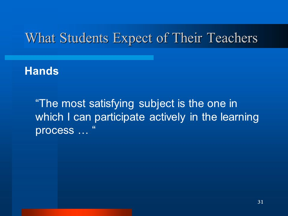 31 What Students Expect of Their Teachers Hands The most satisfying subject is the one in which I can participate actively in the learning process …