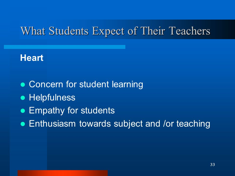 33 What Students Expect of Their Teachers Heart Concern for student learning Helpfulness Empathy for students Enthusiasm towards subject and /or teaching