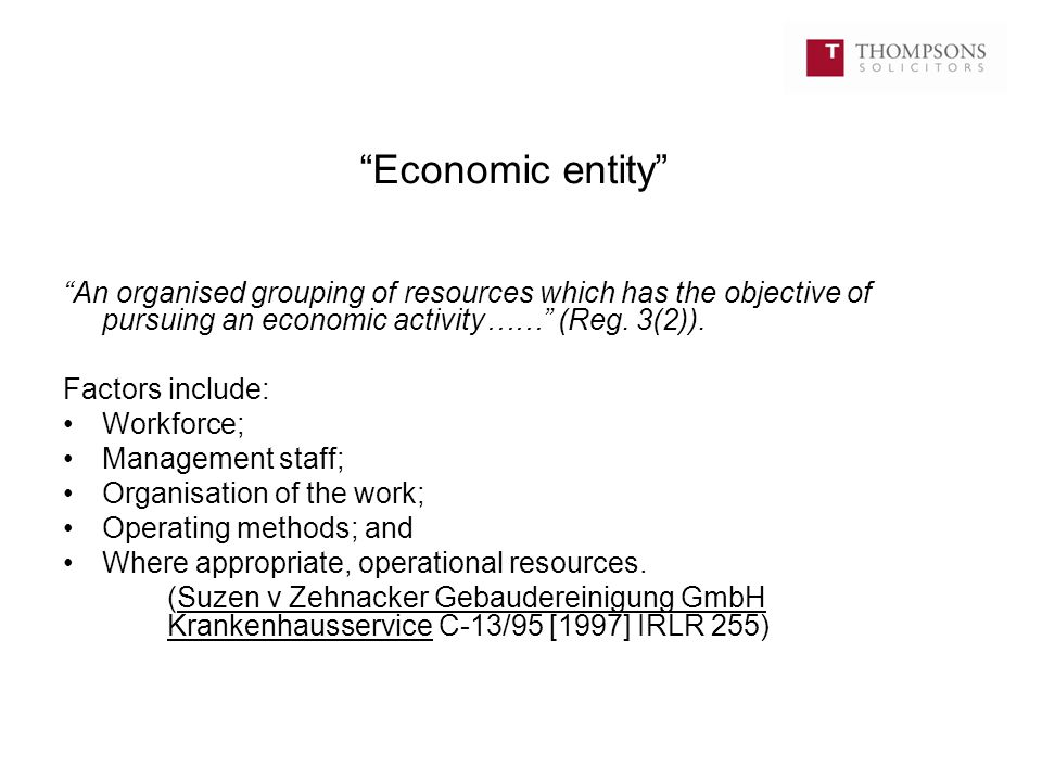 """Economic entity"" ""An organised grouping of resources which has the objective of pursuing an economic activity……"" (Reg. 3(2)). Factors include: Workfo"