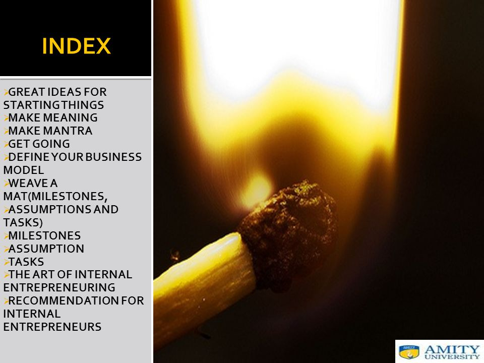 INDEX  GREAT IDEAS FOR STARTING THINGS  MAKE MEANING  MAKE MANTRA  GET GOING  DEFINE YOUR BUSINESS MODEL  WEAVE A MAT(MILESTONES,  ASSUMPTIONS AND TASKS)  MILESTONES  ASSUMPTION  TASKS  THE ART OF INTERNAL ENTREPRENEURING  RECOMMENDATION FOR INTERNAL ENTREPRENEURS