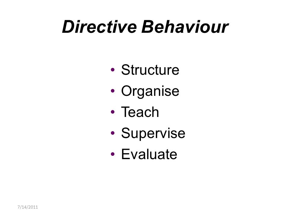 Structure Organise Teach Supervise Evaluate Directive Behaviour 7/14/2011