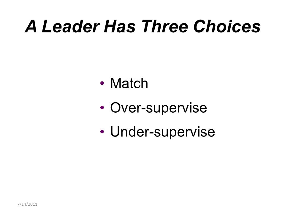 Match Over-supervise Under-supervise A Leader Has Three Choices 7/14/2011