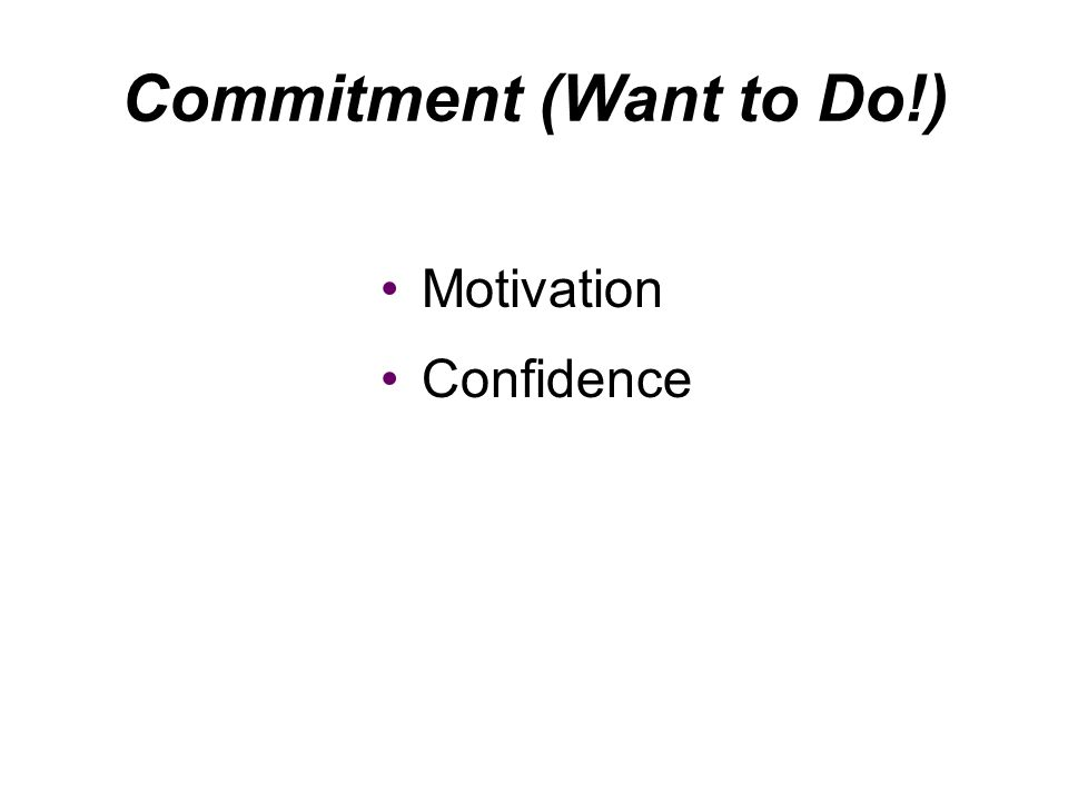 Motivation Confidence Commitment (Want to Do!)