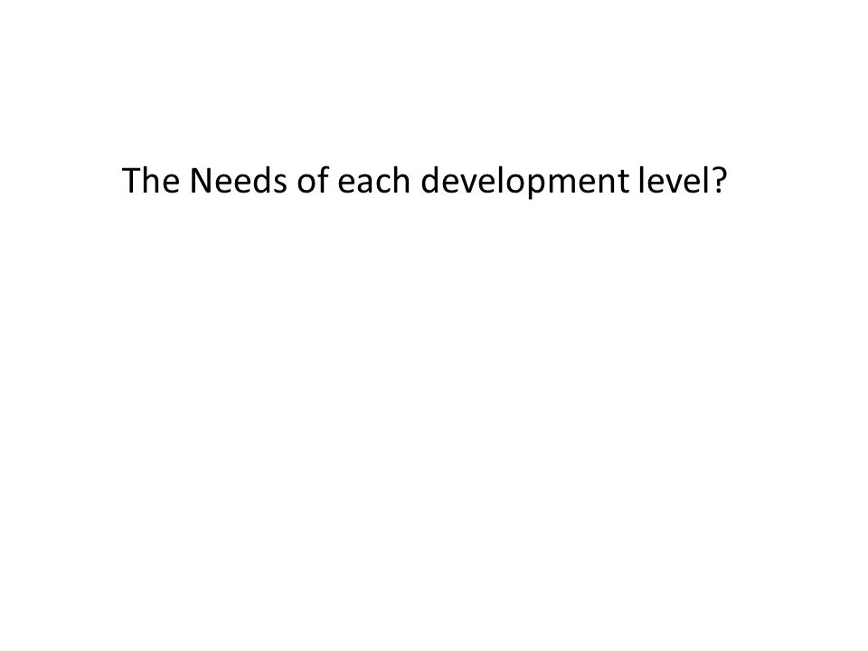 The Needs of each development level