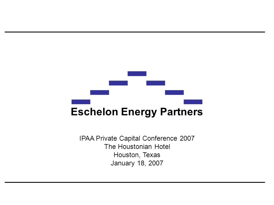 Eschelon Energy Partners 12January 18, 2007 Private Capital Investment in the North American Upstream Sector – 2007 versus 2006 Factors / Correlations Amount Global Liquidity Hydrocarbon Prices Service & Supply Costs Consolidation Tax Changes Management Carry More++---- Same++-+-- Less---+++