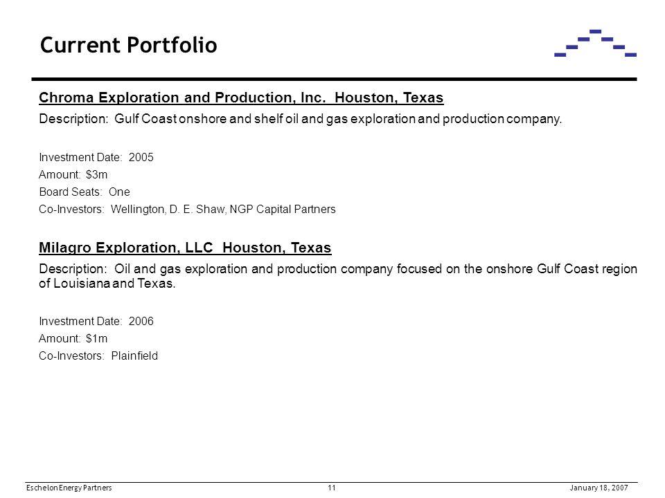 Eschelon Energy Partners 11January 18, 2007 Current Portfolio Chroma Exploration and Production, Inc.