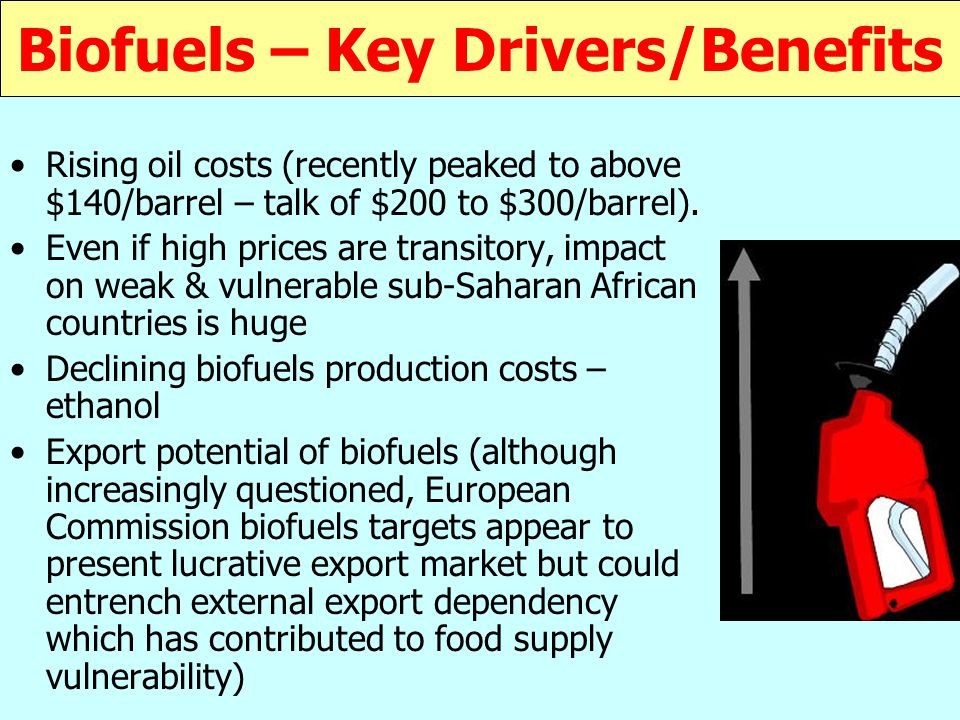 Biofuels – Key Drivers/Benefits Rising oil costs (recently peaked to above $140/barrel – talk of $200 to $300/barrel).