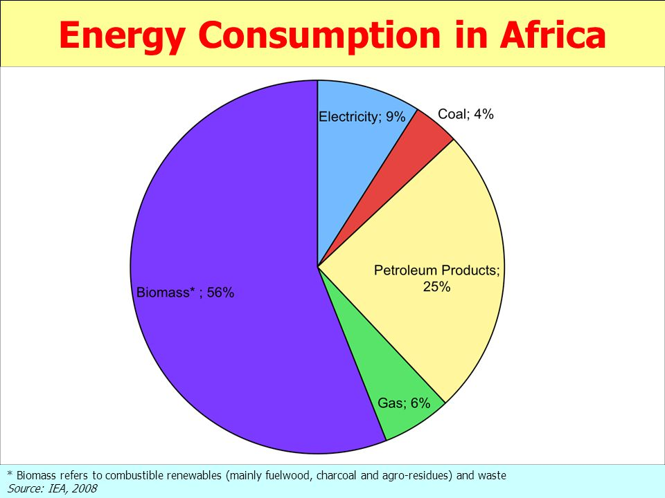 Energy Consumption in Africa * Biomass refers to combustible renewables (mainly fuelwood, charcoal and agro-residues) and waste Source: IEA, 2008