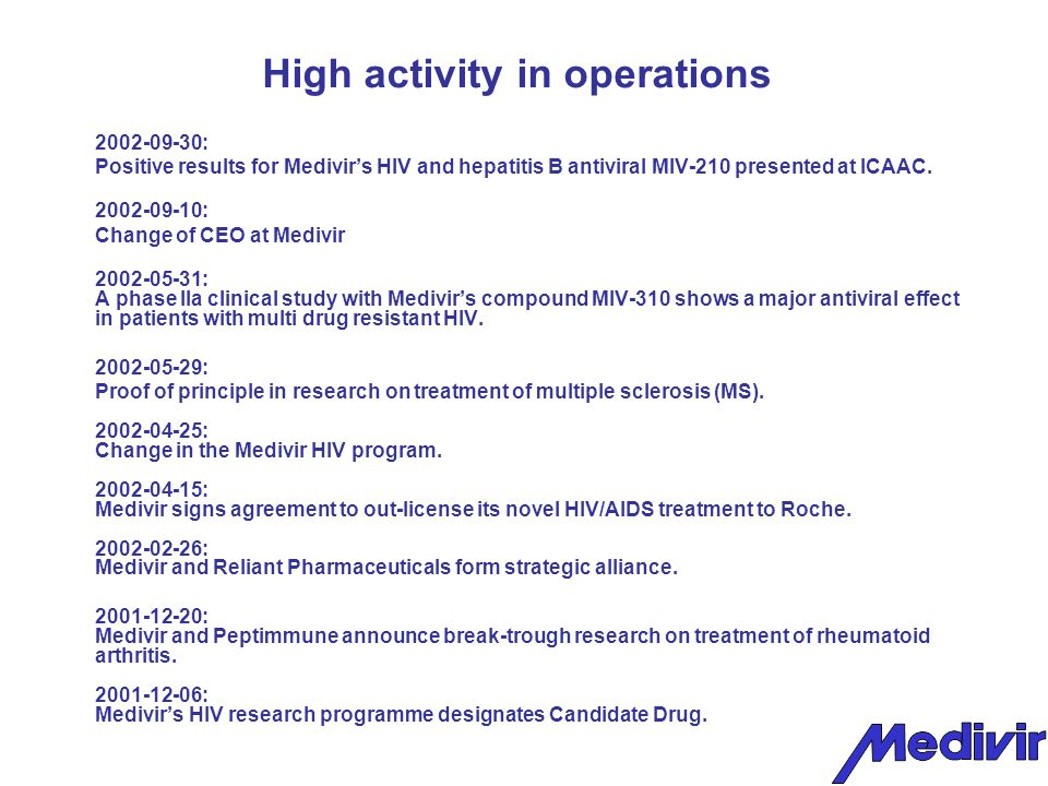High activity in operations 2002-09-30: Positive results for Medivir's HIV and hepatitis B antiviral MIV-210 presented at ICAAC.