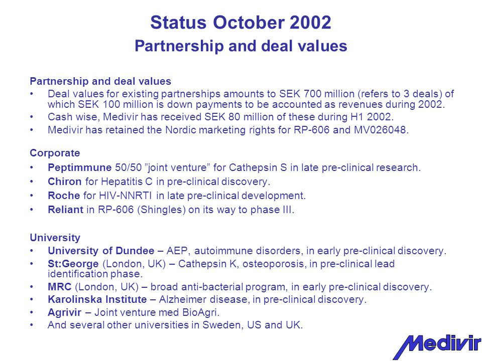 Status October 2002 Financial The group, period ending 30 June Profit after financial items amounted to SEK 4,3 (-68,0) million.