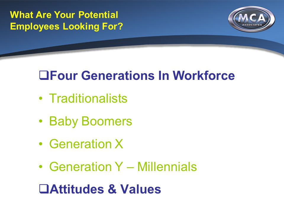 What Are Your Potential Employees Looking For?  Four Generations In Workforce Traditionalists Baby Boomers Generation X Generation Y – Millennials 