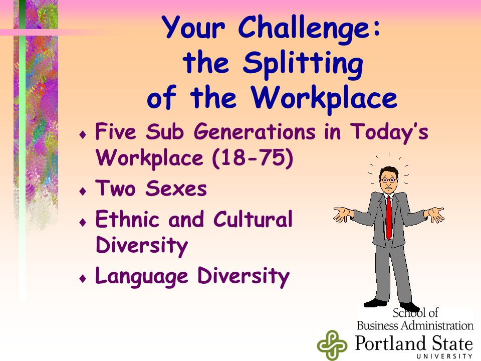 Your Challenge: the Splitting of the Workplace  Five Sub Generations in Today's Workplace (18-75)  Two Sexes  Ethnic and Cultural Diversity  Language Diversity