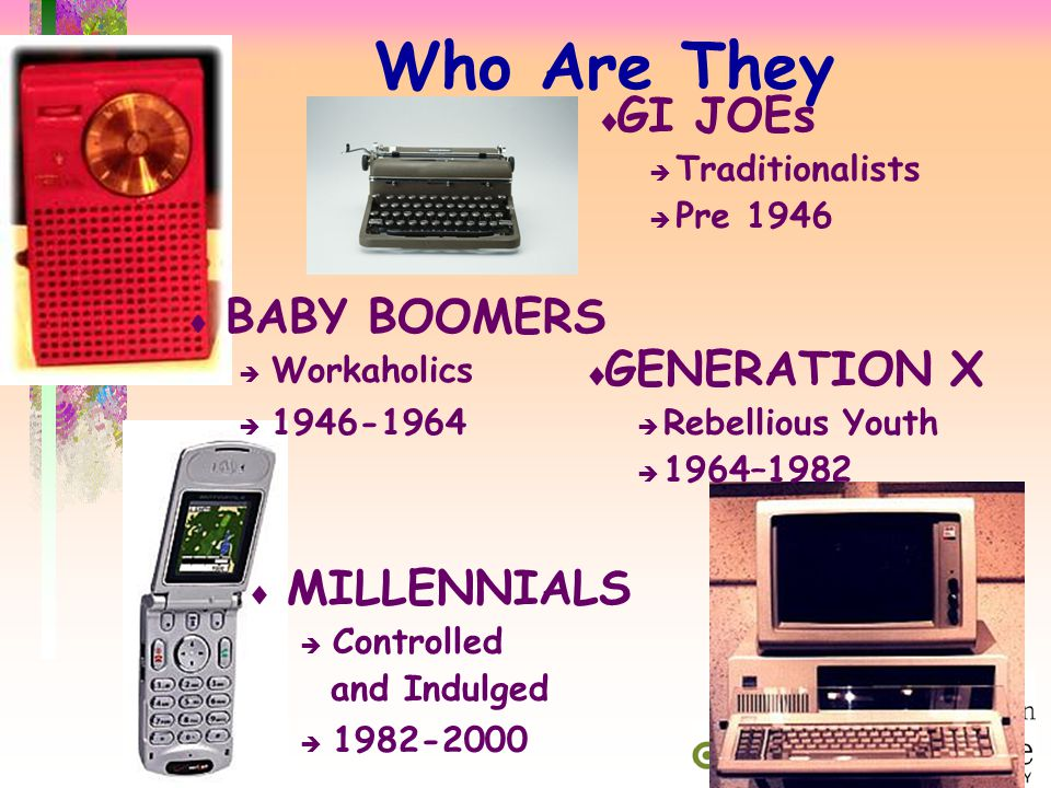 WHO ARE THEY Work Ethic Live First, Work Second GENERATION X MILLENNIALS Independent Team Oriented Pragmatic/ Optimistic/ Practical Idealistic Self-reliant Self-inventive Reject Rules Rewrite Rules Use High Tech Assume High Tech Latchkey Kids Overnurtured Subtle but Important
