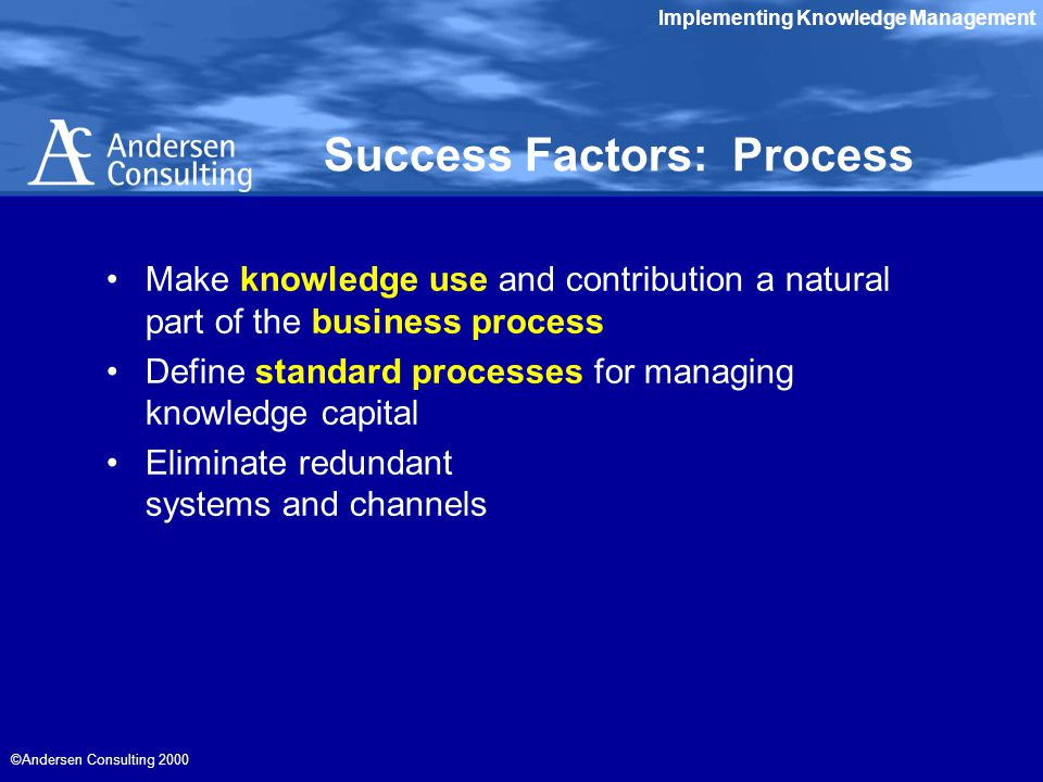 Implementing Knowledge Management ©Andersen Consulting 2000 Success Factors: Process Make knowledge use and contribution a natural part of the business process Define standard processes for managing knowledge capital Eliminate redundant systems and channels
