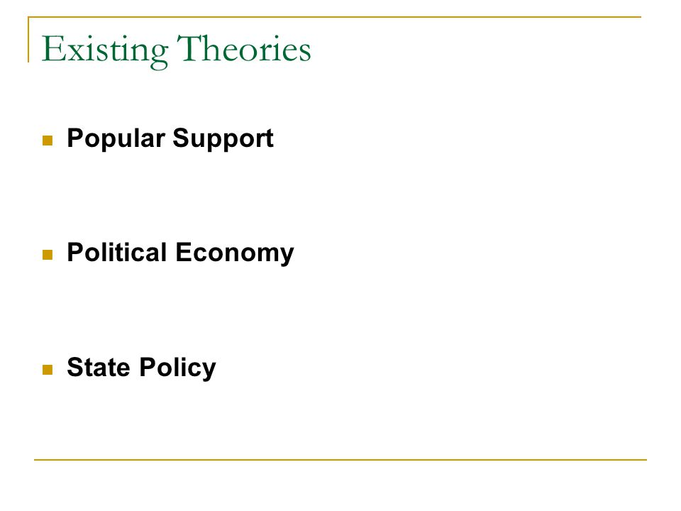 Existing Theories Popular Support Political Economy State Policy