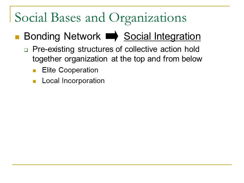 Social Bases and Organizations Bonding Network Social Integration  Pre-existing structures of collective action hold together organization at the top and from below Elite Cooperation Local Incorporation