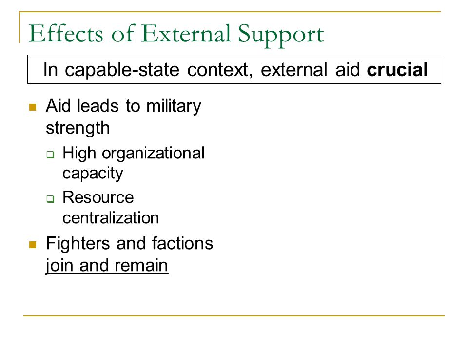 Effects of External Support Aid leads to military strength  High organizational capacity  Resource centralization Fighters and factions join and remain In capable-state context, external aid crucial