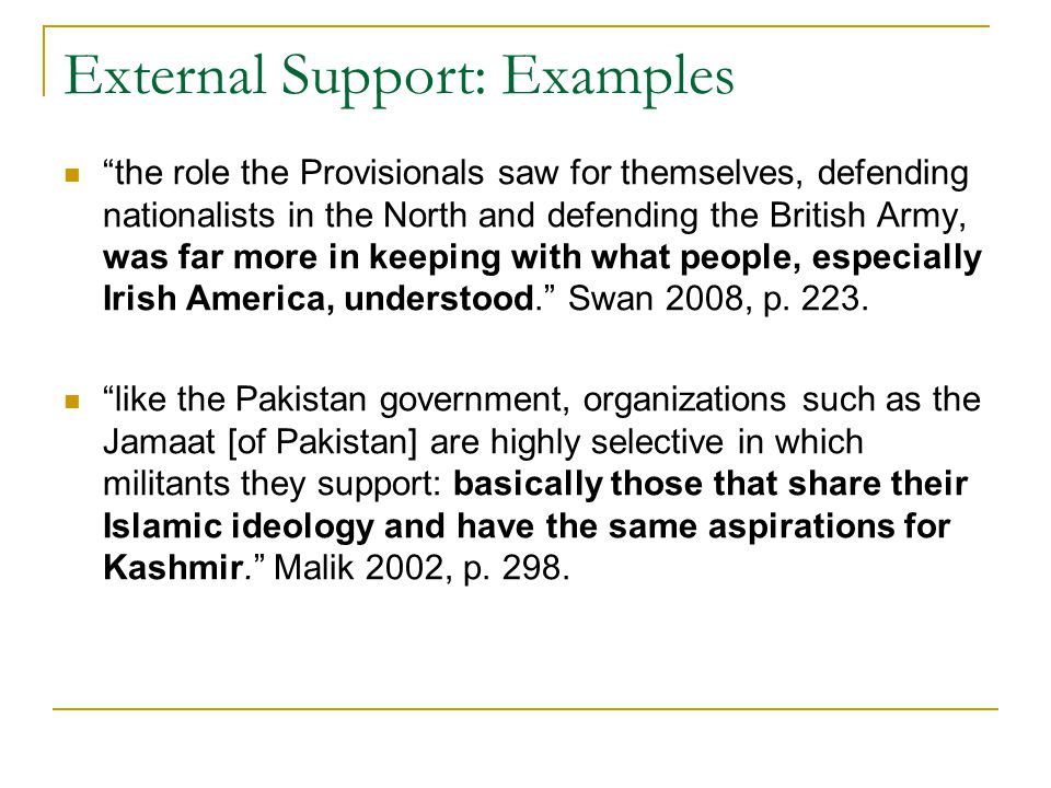 External Support: Examples the role the Provisionals saw for themselves, defending nationalists in the North and defending the British Army, was far more in keeping with what people, especially Irish America, understood. Swan 2008, p.