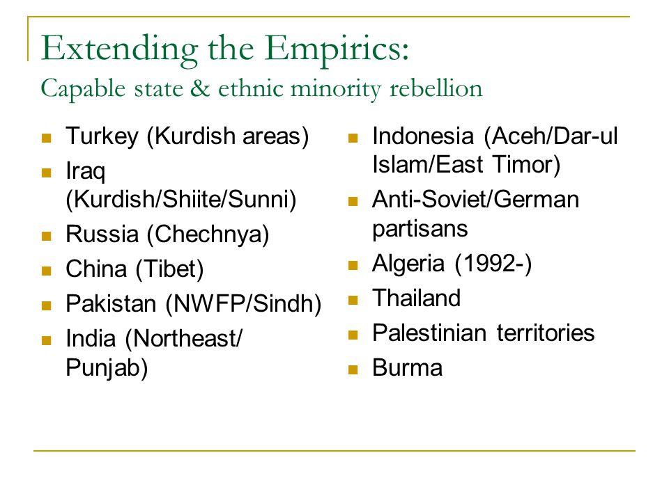 Extending the Empirics: Capable state & ethnic minority rebellion Turkey (Kurdish areas) Iraq (Kurdish/Shiite/Sunni) Russia (Chechnya) China (Tibet) P