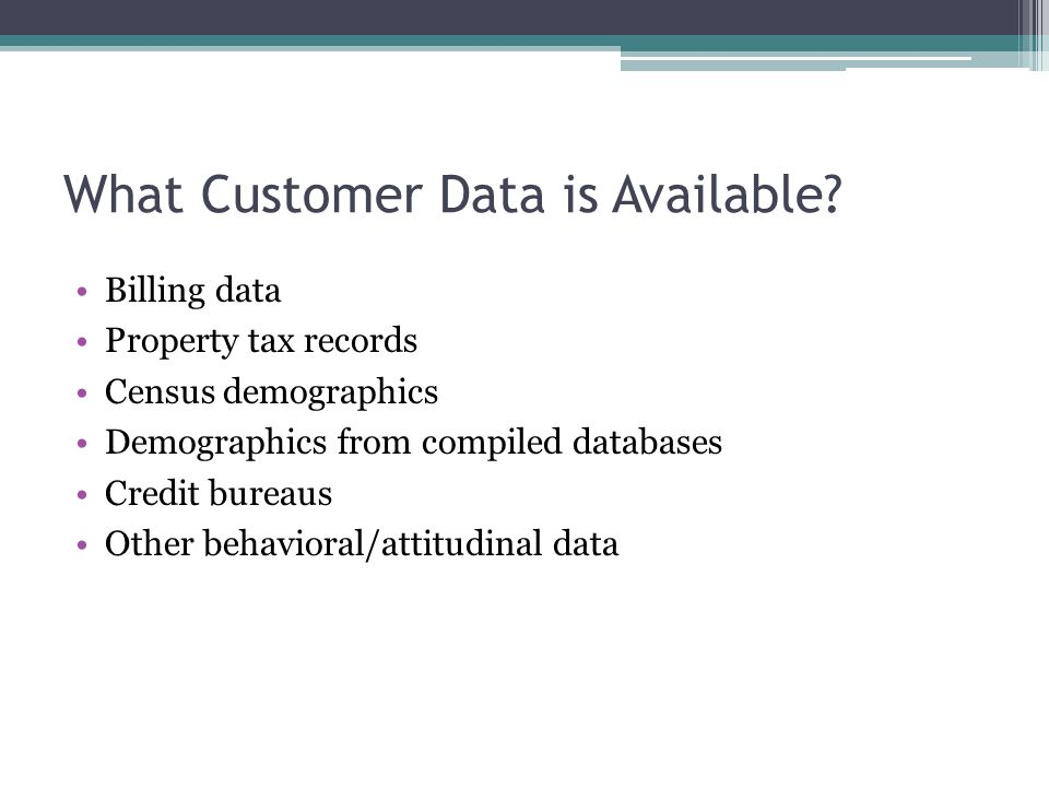 What Customer Data is Available.