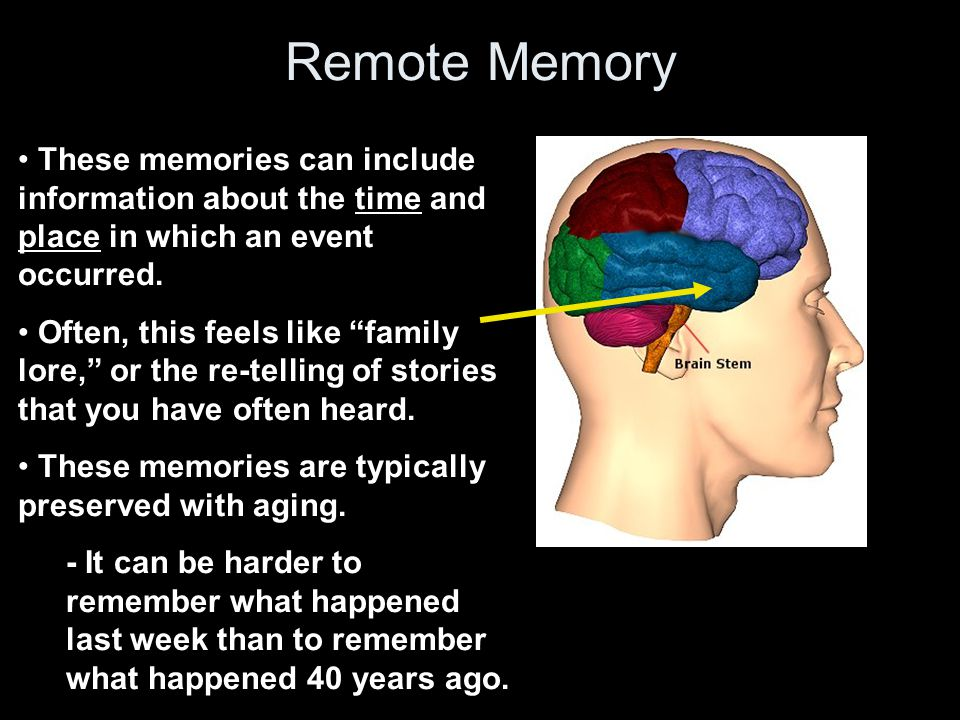 Remote Memory These memories can include information about the time and place in which an event occurred.