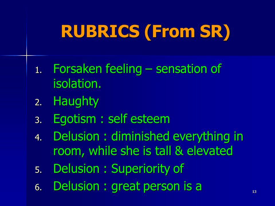 13 RUBRICS (From SR) 1. Forsaken feeling – sensation of isolation.