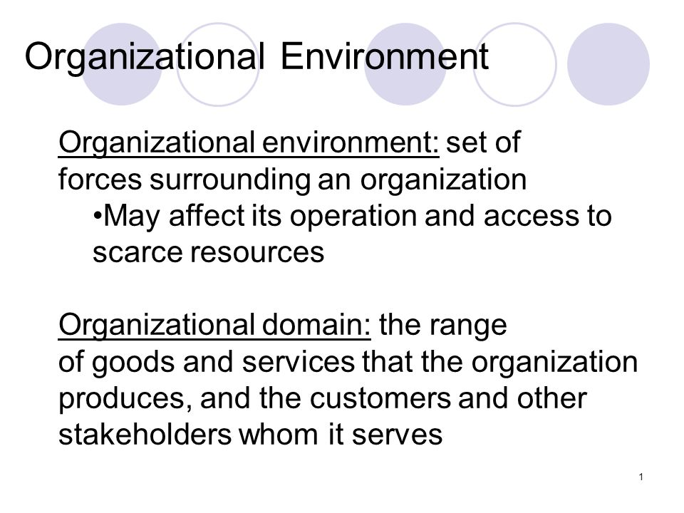 1 Organizational Environment Organizational environment: set of forces surrounding an organization May affect its operation and access to scarce resources Organizational domain: the range of goods and services that the organization produces, and the customers and other stakeholders whom it serves