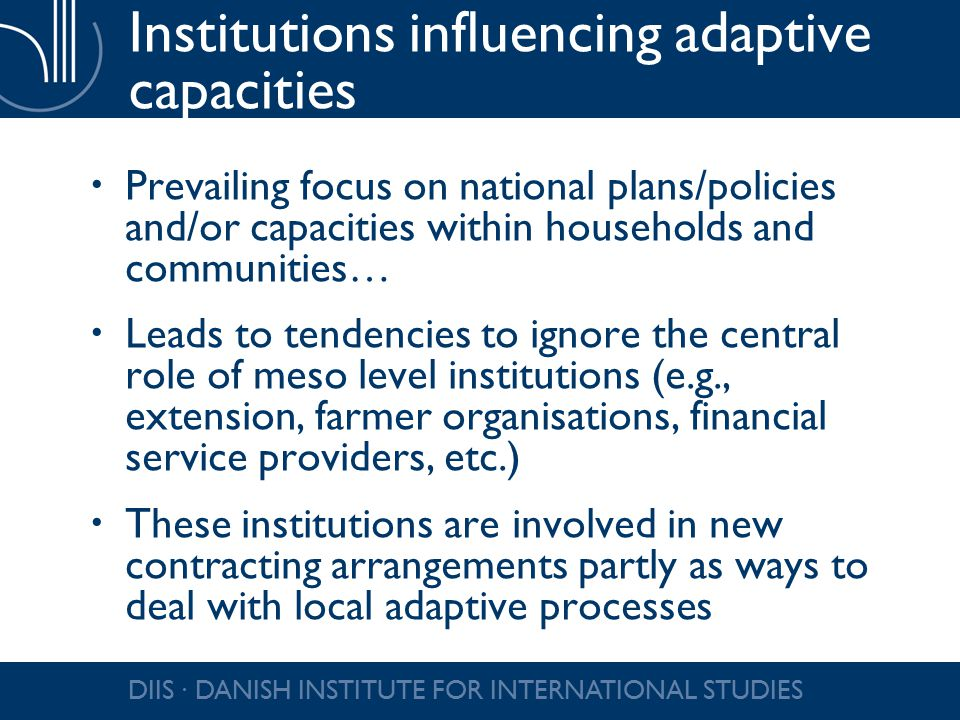 Institutions influencing adaptive capacities  Prevailing focus on national plans/policies and/or capacities within households and communities…  Leads to tendencies to ignore the central role of meso level institutions (e.g., extension, farmer organisations, financial service providers, etc.)  These institutions are involved in new contracting arrangements partly as ways to deal with local adaptive processes DIIS ∙ DANISH INSTITUTE FOR INTERNATIONAL STUDIES