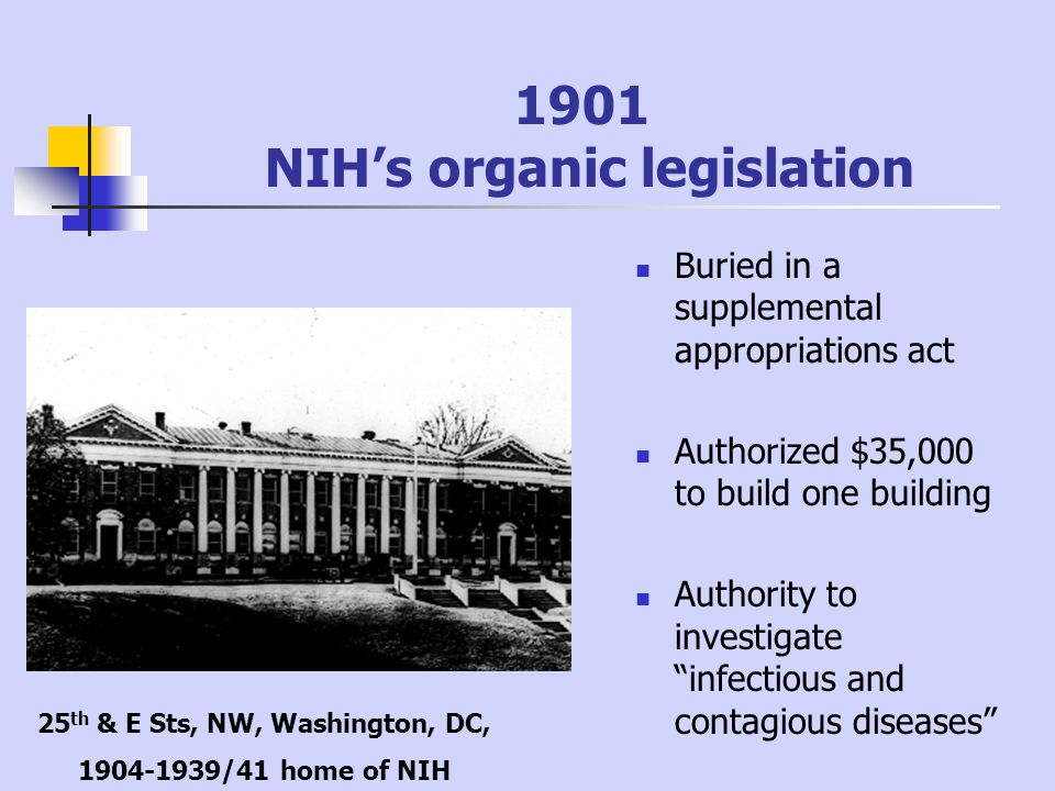 1901 NIH's organic legislation Buried in a supplemental appropriations act Authorized $35,000 to build one building Authority to investigate infectious and contagious diseases 25 th & E Sts, NW, Washington, DC, 1904-1939/41 home of NIH
