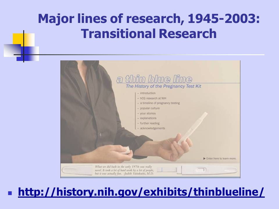 Major lines of research, 1945-2003: Transitional Research http://history.nih.gov/exhibits/thinblueline/