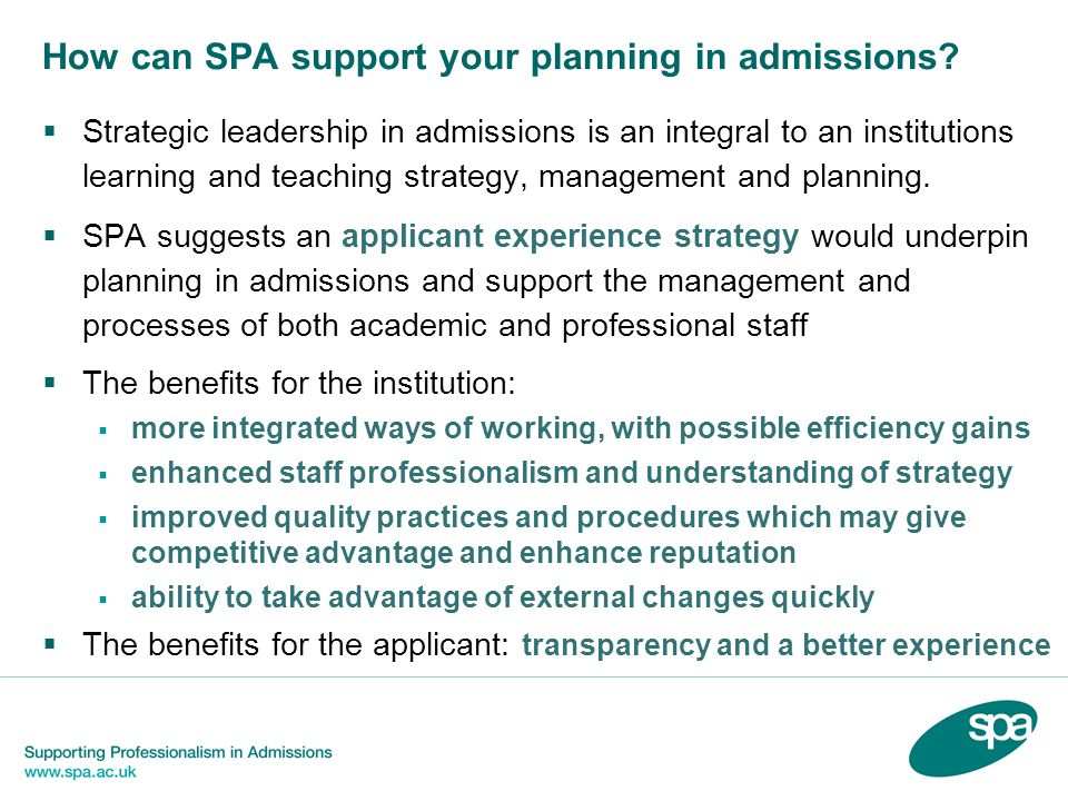 How can SPA support your planning in admissions.