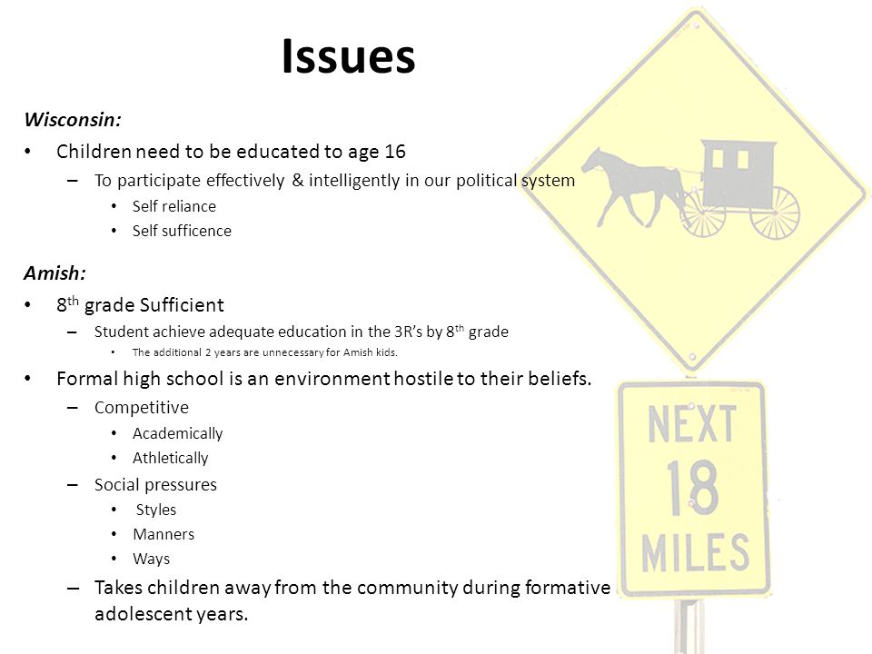 Issues Wisconsin: Children need to be educated to age 16 – To participate effectively & intelligently in our political system Self reliance Self suffi