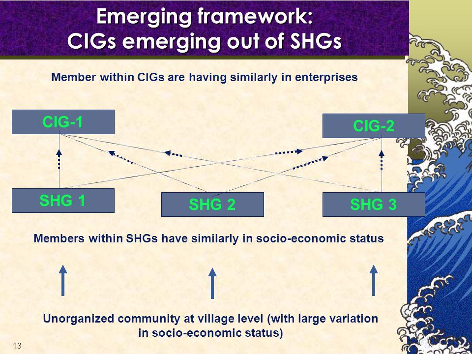 13 Unorganized community at village level (with large variation in socio-economic status) CIG-1 CIG-2 Members within SHGs have similarly in socio-economic status SHG 1 SHG 2SHG 3 Emerging framework: CIGs emerging out of SHGs Member within CIGs are having similarly in enterprises