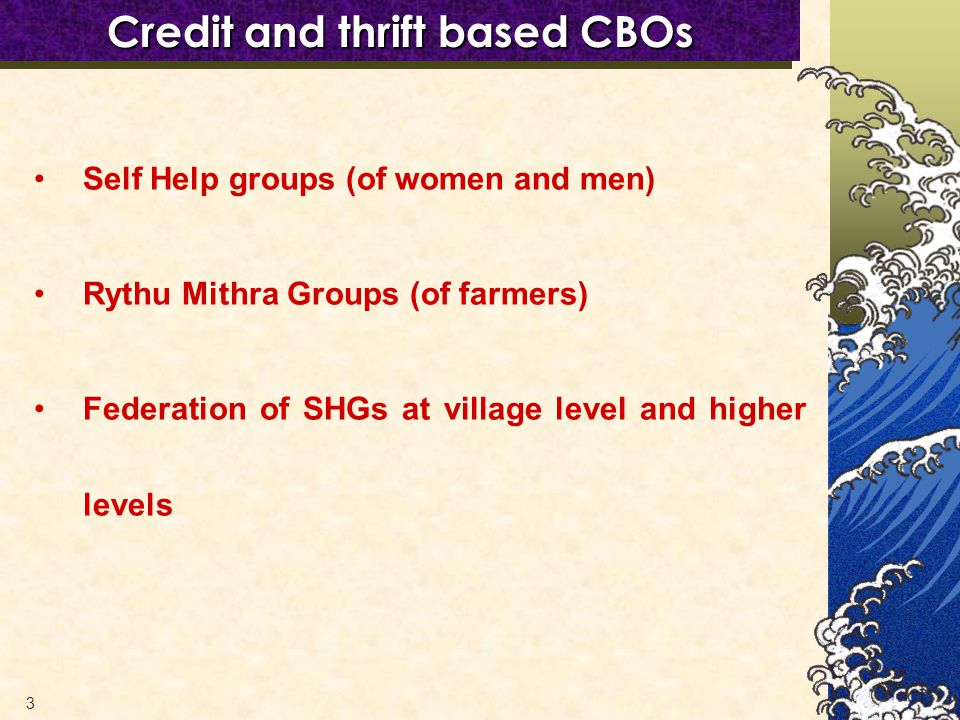 3 Credit and thrift based CBOs Self Help groups (of women and men) Rythu Mithra Groups (of farmers) Federation of SHGs at village level and higher levels