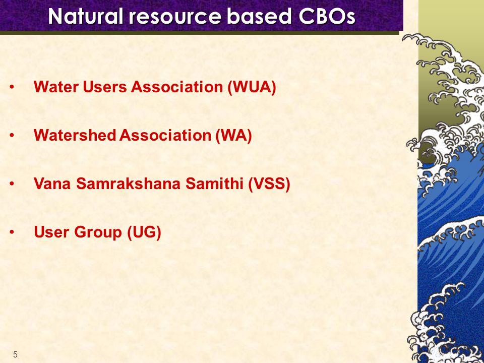 5 Natural resource based CBOs Water Users Association (WUA) Watershed Association (WA) Vana Samrakshana Samithi (VSS) User Group (UG)