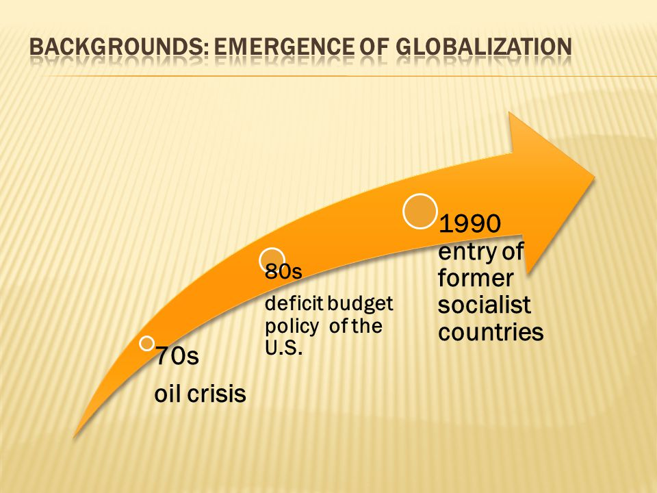 70s oil crisis 80s deficit budget policy of the U.S. 1990 entry of former socialist countries