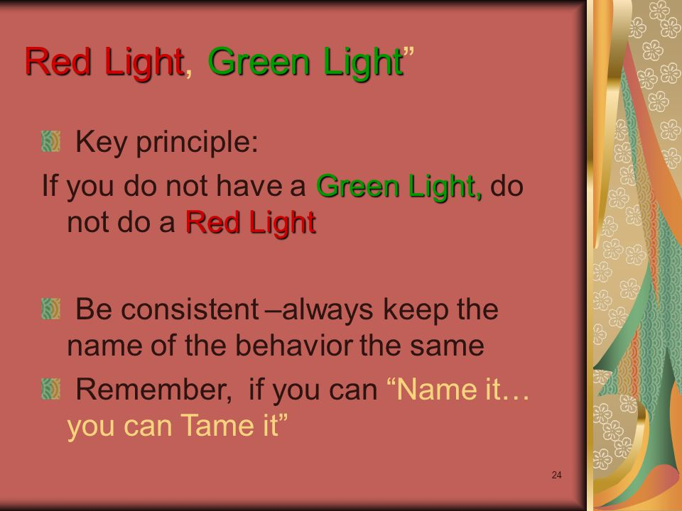 24 Red LightGreen Light Red Light, Green Light Key principle: Green Light, Red Light If you do not have a Green Light, do not do a Red Light Be consistent –always keep the name of the behavior the same Remember, if you can Name it… you can Tame it