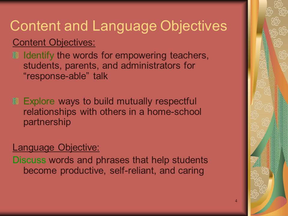 "4 Content and Language Objectives Content Objectives: Identify the words for empowering teachers, students, parents, and administrators for ""response-"