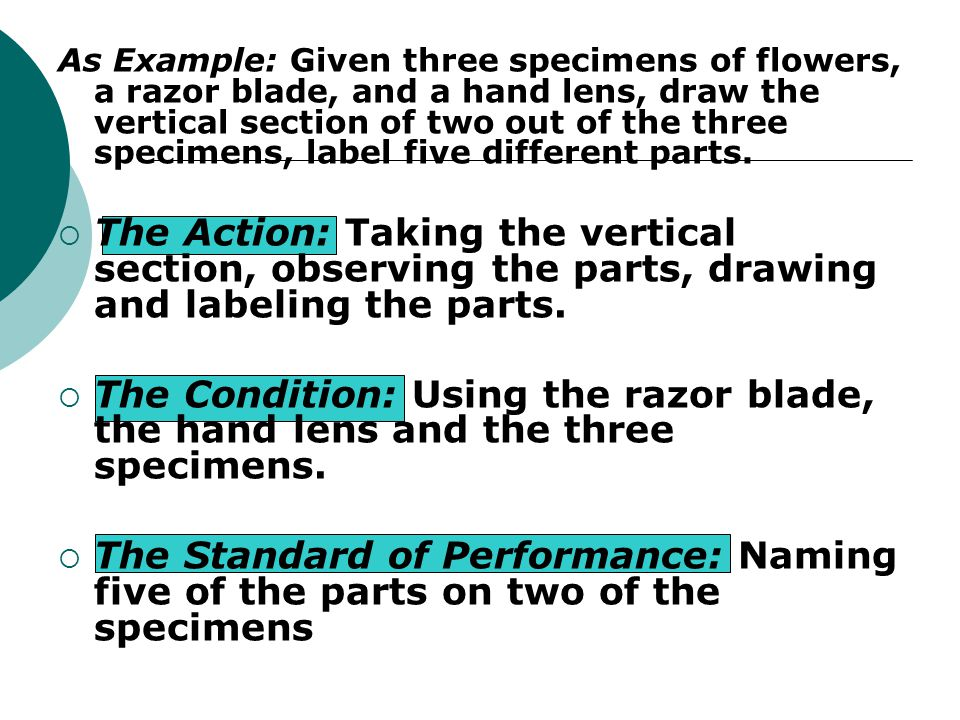 As Example: Given three specimens of flowers, a razor blade, and a hand lens, draw the vertical section of two out of the three specimens, label five different parts.