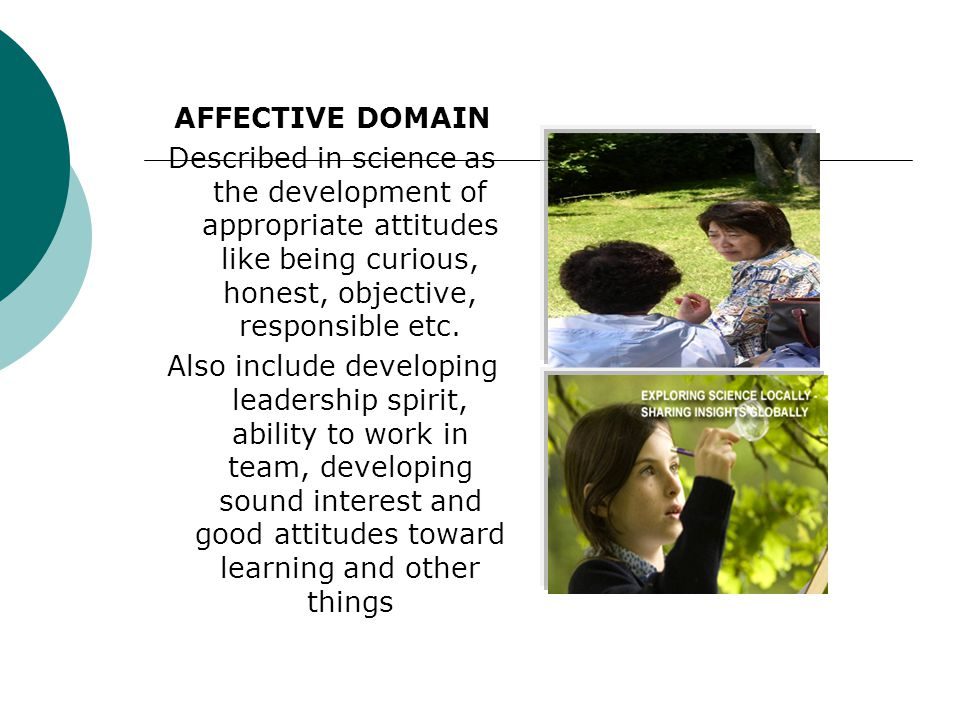 AFFECTIVE DOMAIN Described in science as the development of appropriate attitudes like being curious, honest, objective, responsible etc.